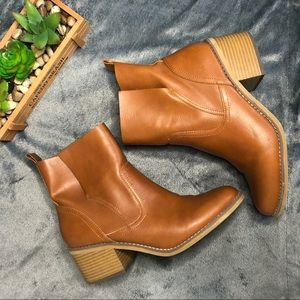 Faux Leather Heeled ankle boots booties block heel